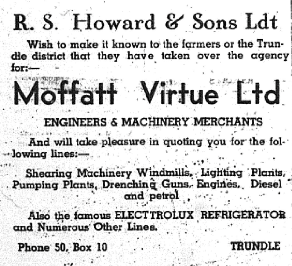 An advertisement for R.S. Howard & Sons Ltd recommending farming equipment to Trundle district. Source: The Trundle Star Friday June 11, 1937 p.7