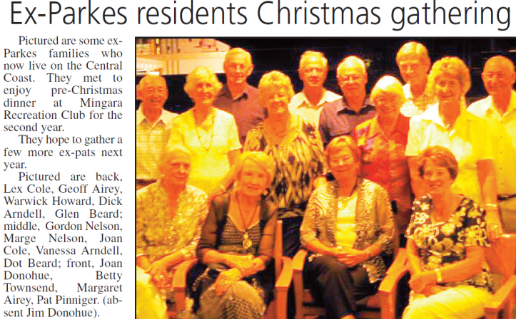 Newspaper report on Parkes ex-pats who gather on the Central Coast to reminisce. Source: Parkes Champion Post Wednesday, January 13, 2010 p.7