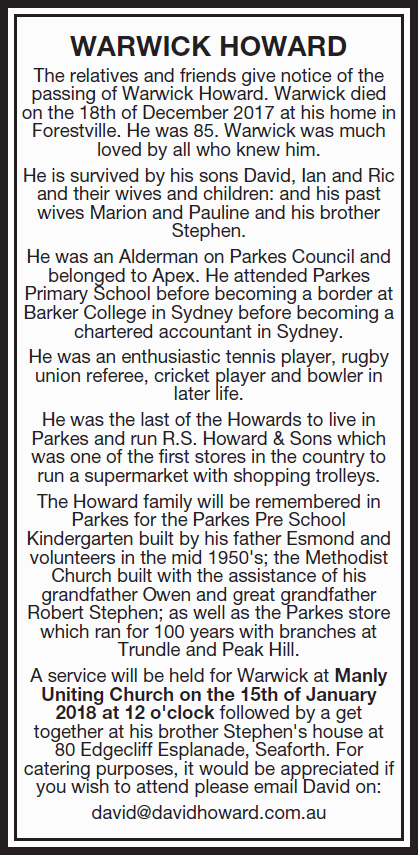 warwick obituary