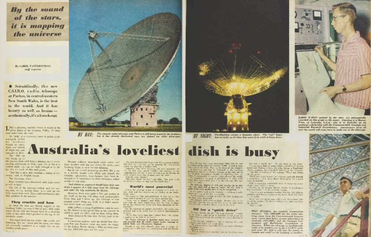 "Australian Women's Weekly called the Parkes Radio Telescope ""Australia's loveliest dish"". To view the article for better reading click here. Source: Australian Women's Weekly Wednesday January 10, 1962, pages 10 and 11"
