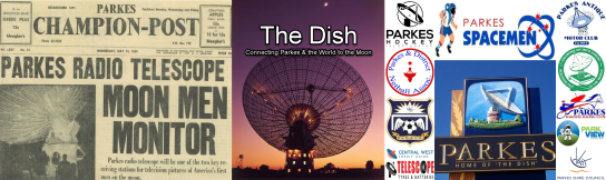 The feature picture includes front page of Parkes Champion Post (left); photograph of The Dish at night (centre) and a montage of the many ways The Dish is connected to the Parkes community.