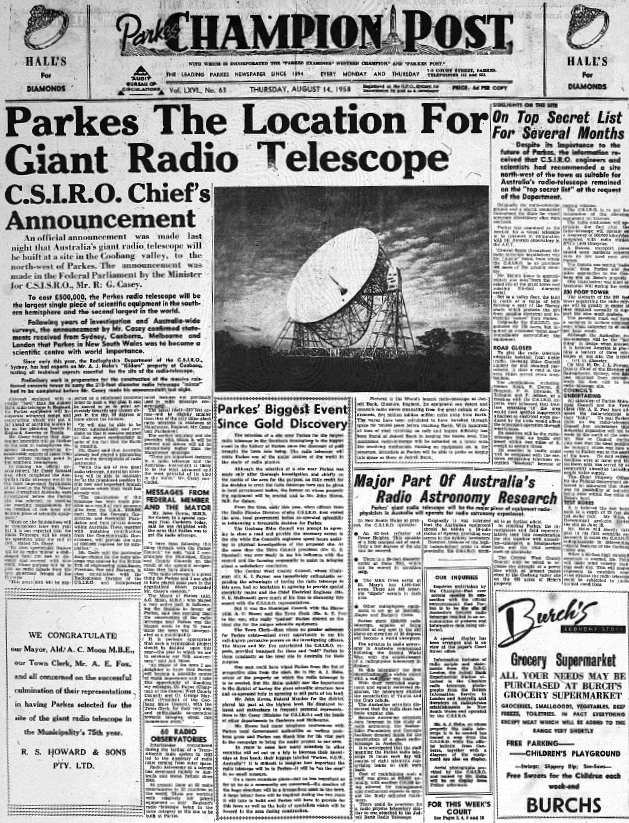 The front page of the newspaper, Parkes' biggest event since gold discovery! Source: Parkes Champion Post Thursday, August 14, 1958 page 1