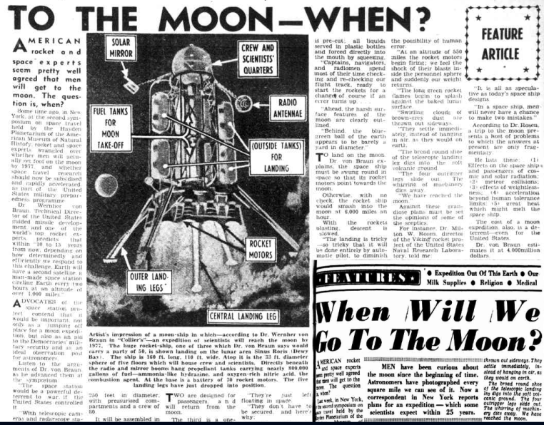 Two newspaper articles speculating on when will humanity make it to the moon. Both newspaper articles featured the same artist's impression of a moon-ship. Source: (main article) Brisbane Telegraph Wednesday November 18, 1953, page 21 and (inset) The Sunday Herald October 19, 1952, page 9