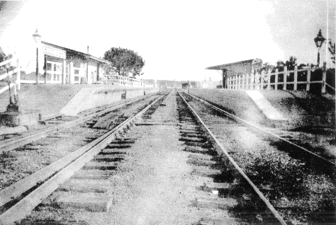 Undated photograph of Cookamidgera Railway Station. Notice the gaslights on the platform. Source: Carolyn Wilson personal photograph