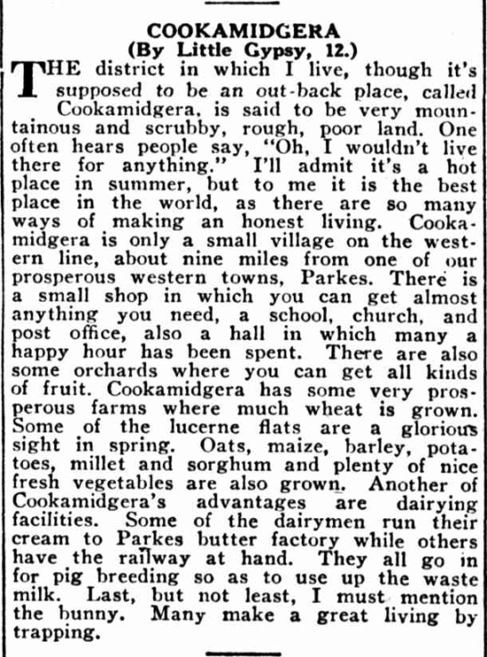 A child's perspective of life in Cookamidgera. This report highlights highs and lows of living in a country village during the Great Depression years. Source: The Land Friday September 9, 1932 p.16