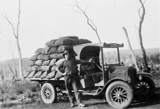 A photograph of Roy Hawken carting the charcoal to the Parkes flour mill on his Model T Ford truck, near Cookamidgera. Source: Model T Ford Forum