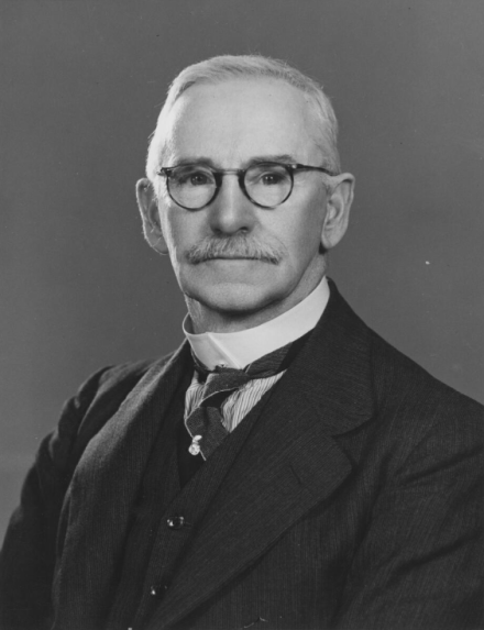 """Grey-haired and keen-eyed"" this portrait of Horace Keyworth Nock is from 1940. Source: Trove at https://nla.gov.au/nla.obj-136770839/view"