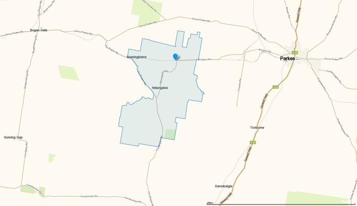 Area map of Nelungaloo, showing its location between Bogan Gate and Parkes. Source: Whereis.com website at https://www.whereis.com/nsw/nelungaloo-2876