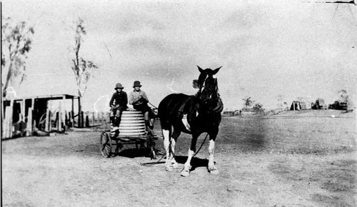 The old fashioned way of carting water during the drought - Nelungaloo, NSW Source: NSW State Library Archives at http://digital.sl.nsw.gov.au/delivery/DeliveryManagerServlet?embedded=true&toolbar=false&dps_pid=IE1693364&_ga=2.69685264.1432411973.1576469181-1853509756.1523252311