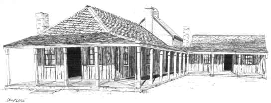 "Nelungaloo Homestead, beautifully hand drawn by Jon Lawrence is described as ""...an historical example of an early Australian homestead"". It was built in the 1870s. Source: Forbes and Parkes Sketchbook by Jon & Terri Lawrence (1978) Rigby Limited pages 8 and 9"