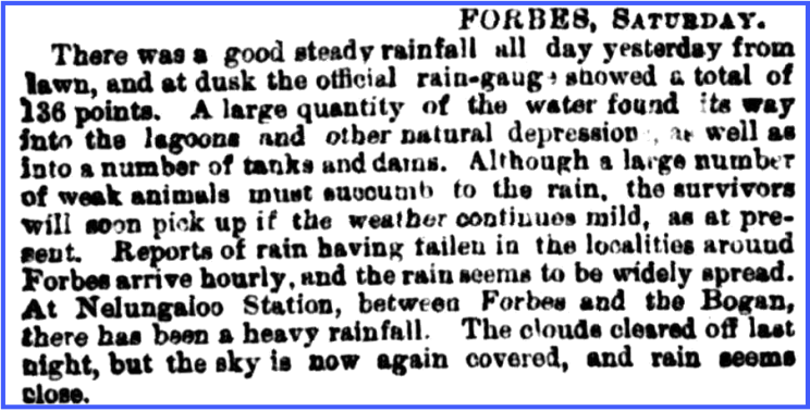 Weather report highlighting the heavy rains that filled lagoons and other natural depressions, tanks and dams. Source: The Sydney Morning Herald Monday 28 April, 1884 page 6