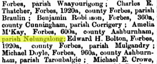 Prior to Nelungaloo becoming part of the local lexicon, there was the parish of Nelungalong - part of the county of Ashburnham. Source: The Burrangong Argus Wednesday 6 September 1876 p.2 at http://nla.gov.au/nla.news-article247274378