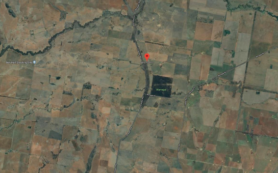 Satellite map of Nelungaloo including Ben Hall's shooting site. Source: Google Maps