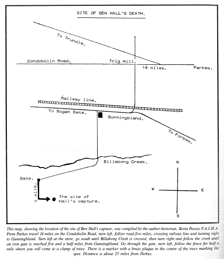 Map of Ben Hall's site of death. Source: Edgar Penzig (1996) Tranter Enterprises: Katoomba p. 474