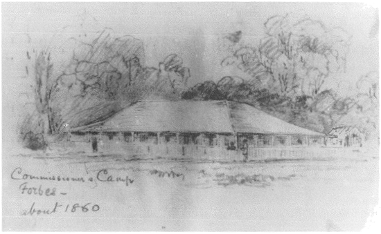 Sketch of Commissioner's Camp circa 1860 which became 'Droubalgie' homestead. Source: Forbes, New South Wales, Australia by Jeannette Hildred (Editor) p.47