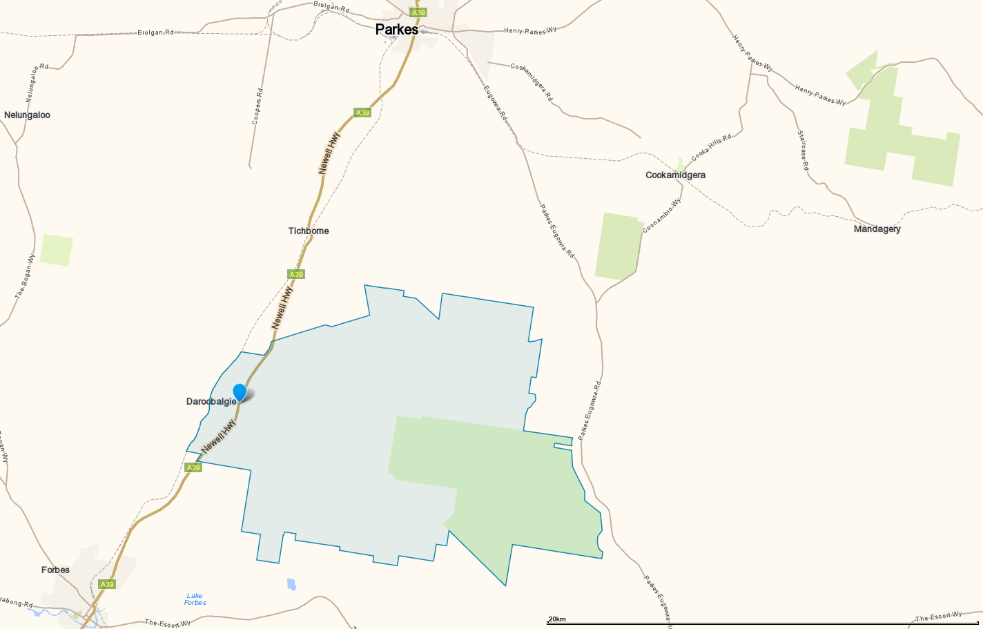 Map of Daroobalgie in relation to Forbes and Parkes. Source: Whereis.com