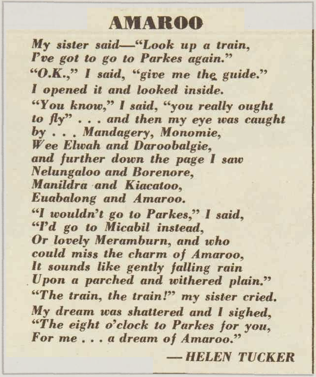 A poem, mentioning several towns and villages of the Parkes district including Daroobalgie. Source: The Australian Women's Weekly Wednesday November 6, 1963 p.86 found at http://nla.gov.au/nla.news-article51193820