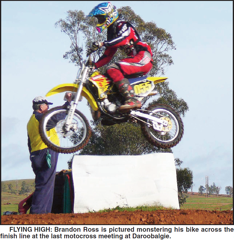 Parkes resident, Brandon Ross, photographed in action at Daroobalgie. Source: Parkes Champion Post Friday July 24, 2009 p.19