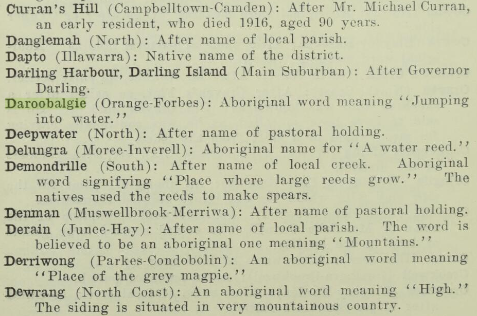 Excerpt from Royal Australian Historical Society highlighting the definition of Daroobalgie. Source: Royal Australian Historical Society Volume 13 Part 2 (1927) p.86 found at https://nla.gov.au/nla.obj-598291513/view?sectionId=nla.obj-606024376&searchTerm=daroobalgie&partId=nla.obj-598310351#page/n51/mode/1up/search/daroobalgie