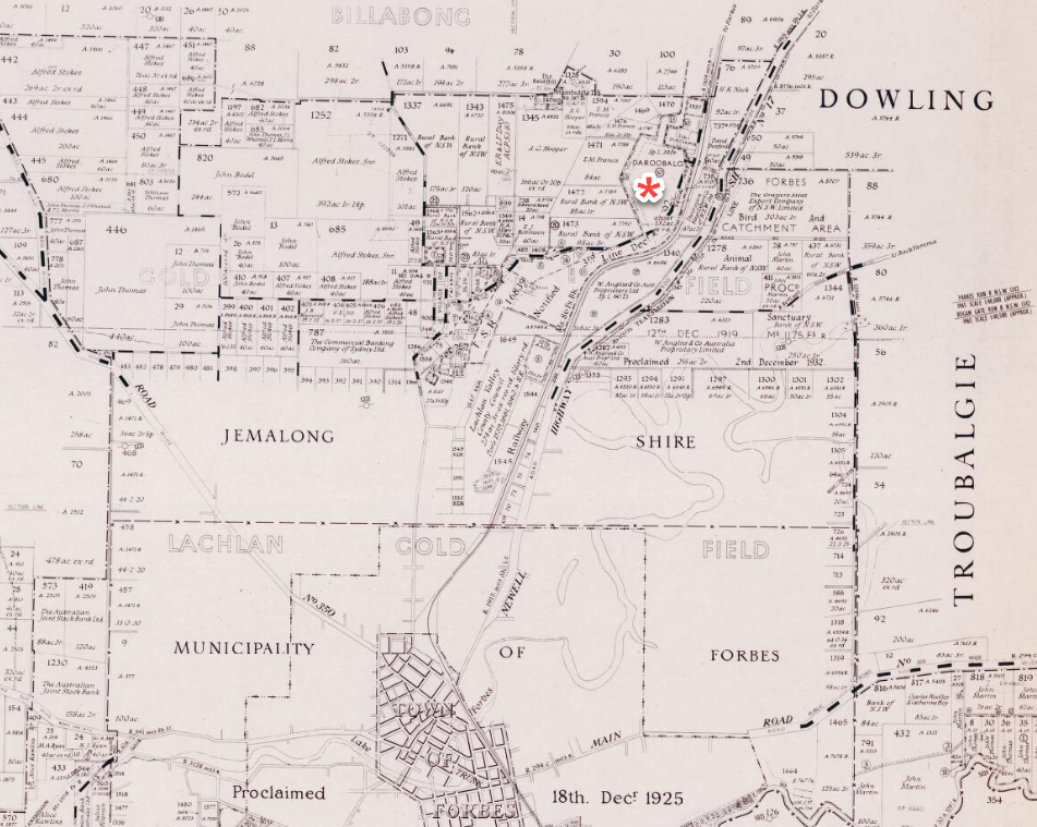 Map of the County of Ashburnham in 1966. Daroobalgie is near the star. Just further south is the property of W. Angliss & Co. Source: Trove found at https://nla.gov.au/nla.obj-511221876/view?searchTerm=daroobalgie#search/daroobalgie