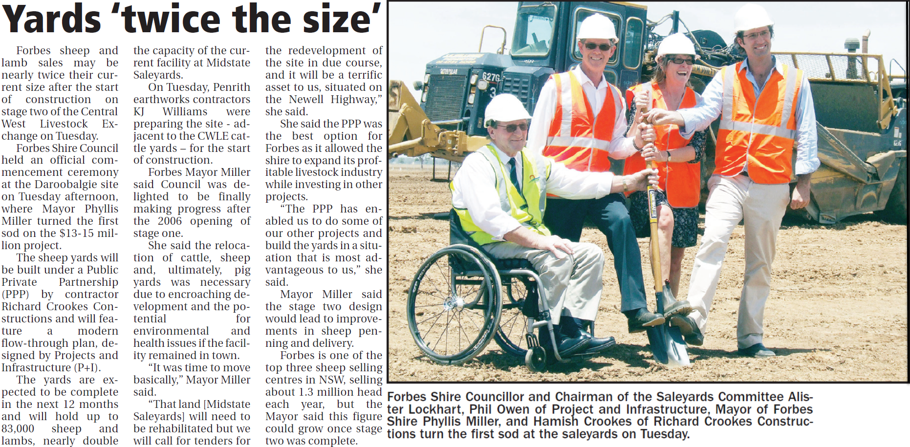 Dignitaries turn the first sod at stage two construction of Central West Livestock Exchange at Daroobalgie. Source: Parkes Champion Post Friday December 11, 2009 p.22