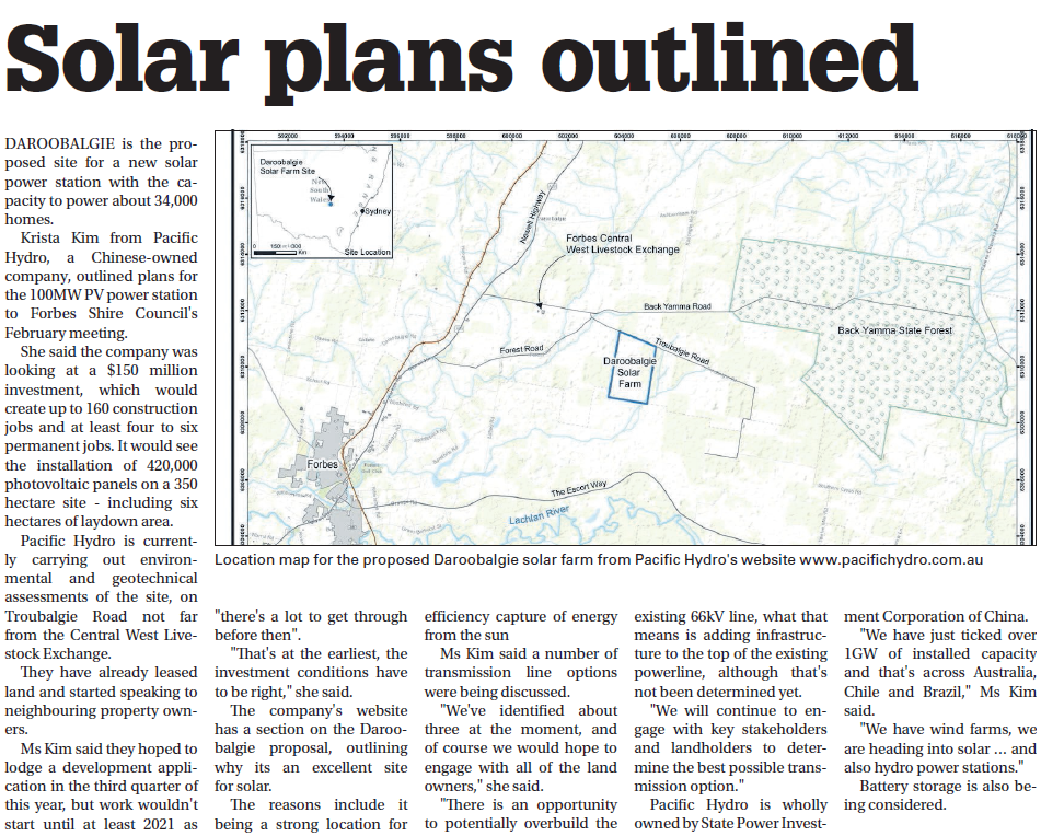 The future of Daroobalgie? A solar farm is proposed for Daroobalgie that has the capacity to power about 34,000 homes. Source: Parkes Champion Post Tuesday March 5, 2019 p.3