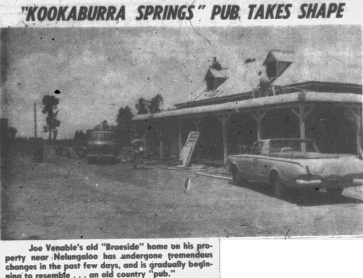 "Joe Venable's old ""Braeside"" home on his property near Nelungaloo was purchased by Immigrant Productions and turned into Mayfair Hotel, the pub and ""headquarters"" for Kookaburra Springs Public School's P&C meetings. Source: Parkes Champion Post Wednesday, January 5, 1972 p.3"