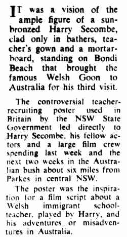 An excerpt from a contemporary newspaper report on the inspiration for Sunstruck. To read the article in its entirety click here. Source: The Canberra Times Saturday January 22, 1972 p.11 which can be found at http://nla.gov.au/nla.news-article101753894
