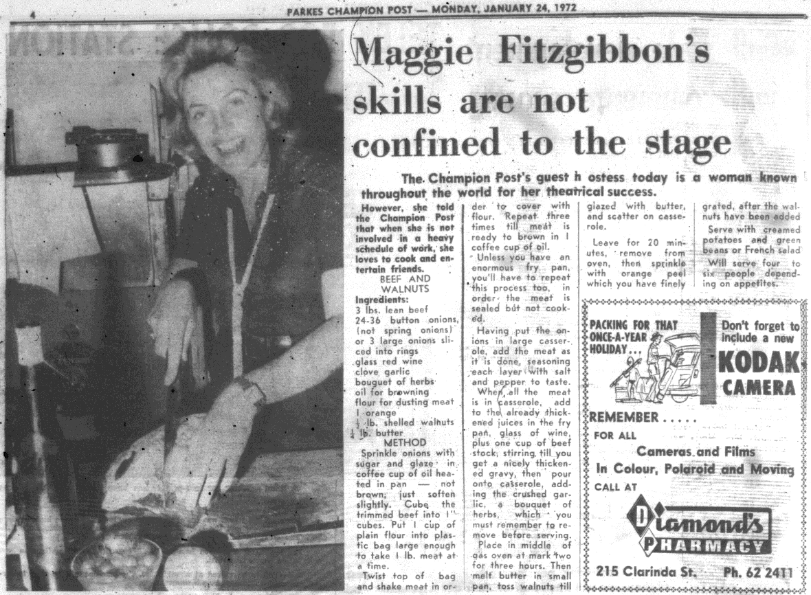 Starring in an international movie didn't stop Maggie Fitzgibbon from being the guest hostess in a regular feature of the local newspaper. Source: Parkes Champion Post Monday, January 24, 1972 p.4