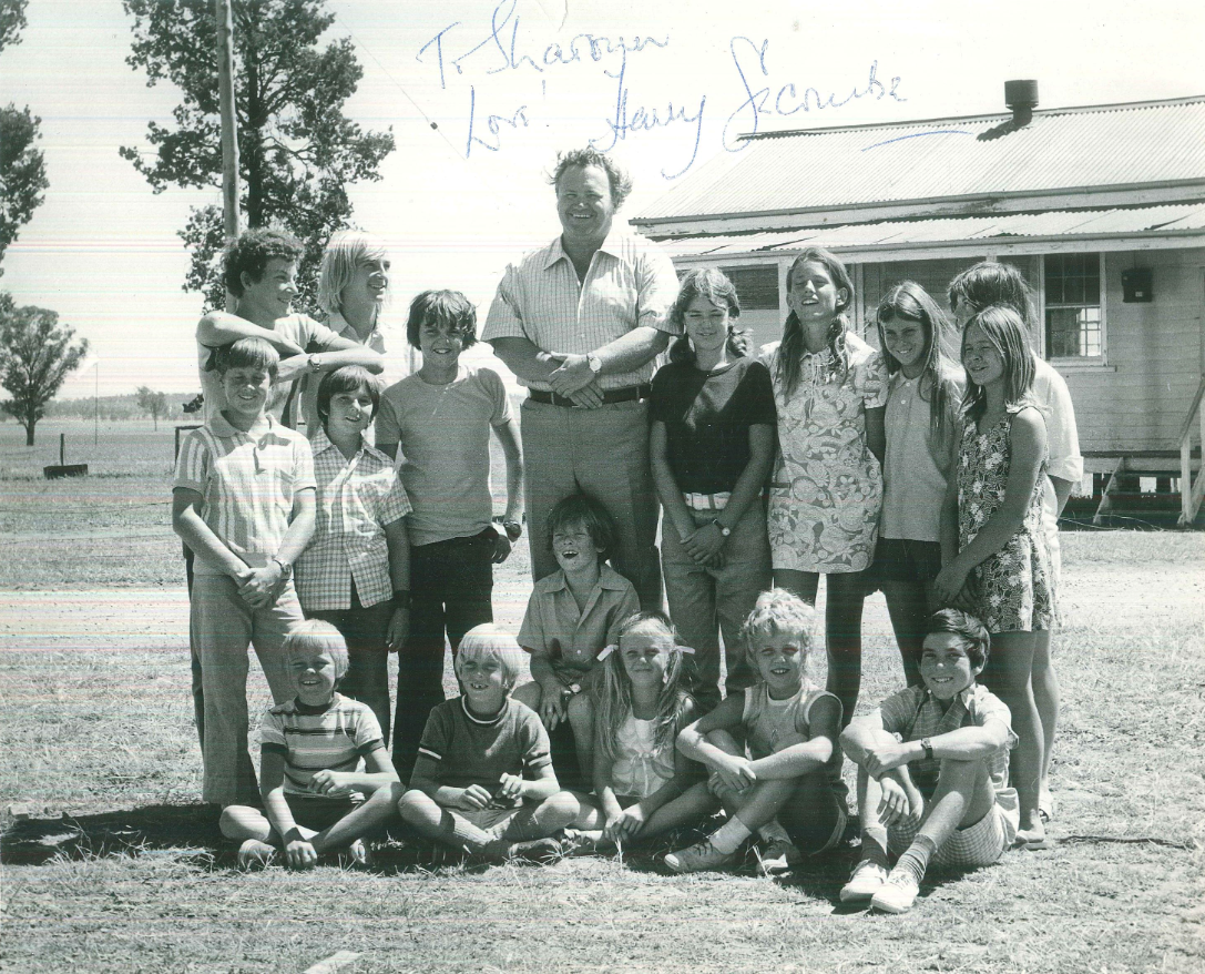 Personal photograph of Sharryn Cunningham (nee Helm) who was one of fourteen Parkes children chosen to be in Sunstruck. Sharryn is the blonde haired girl in the front row with the two pigtails. Sharryn was only seven when she appeared in Sunstruck and she said it was a real thrill to be involved. Source: Sharryn Cunningham personal photograph