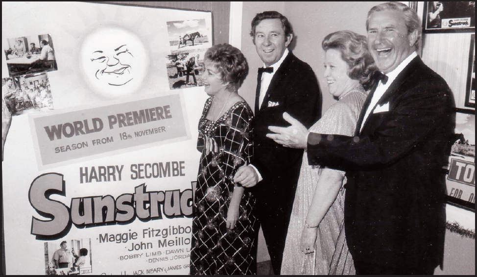 Maggie Fitzgibbon and John Meillion, with Mr and Mrs Jack Neary, the producer, in the foyer of the Century Theatre. Source: Parkes Champion Post Monday, January 6, 2014 p.5
