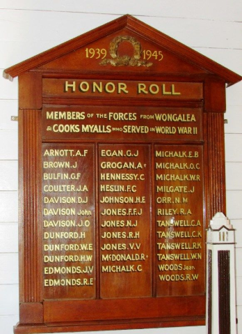 Photograph of the Honor Roll for those who served in World War II who came from Wongalea and Cooks Myalls. Source: Monument Australia website