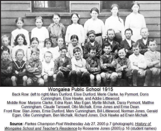 Photograph of Wongalea Public School in 1915. This is the third year of the school being open and the names of locals from the area include Dunford, Cunningham, Hawke, Michalk and Littlewood. Source: Parkes Champion Post Wednesday July 27, 2005 p.7 (photograph); History of Wongalea School and Teacher's Residence by Roseanne Jones (2005) p.16 (student names)