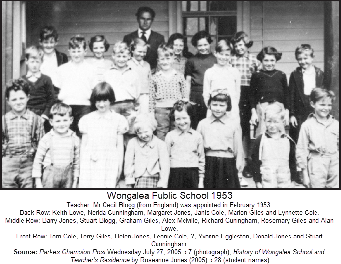 Wongalea Public School 1953. Twenty years before occurring on film, a British teacher emigrates to teach at a one teacher school in the Australian outback. Source: Parkes Champion Post Wednesday July 27, 2005 p.7 (photograph); History of Wongalea School and Teacher's Residence by Roseanne Jones (2005) p.28 (student names)