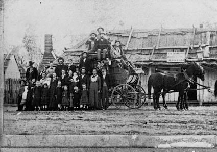 Photograph of the Cobb and Co coach at Bumberry Hotel near Parkes. Source: National Archives of Australia website which can be found at https://recordsearch.naa.gov.au/SearchNRetrieve/Interface/DetailsReports/PhotoDetail.aspx?Barcode=3025541