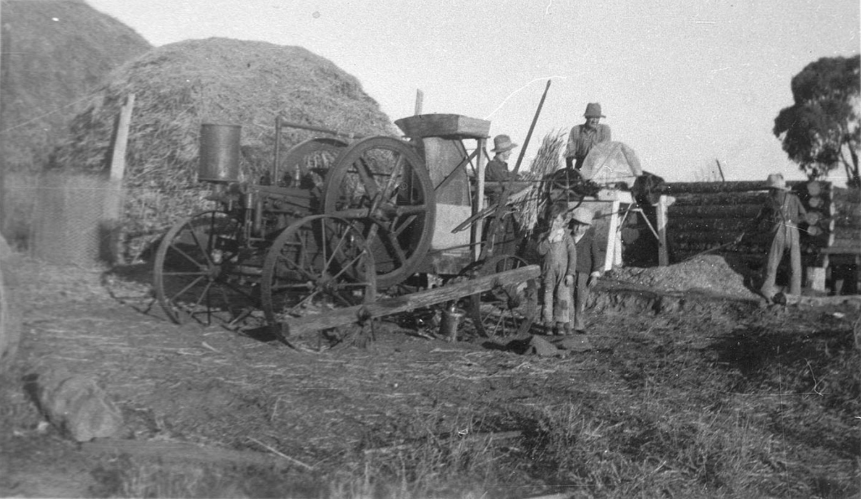 "Threshing on ""Woodburn"", Bumberry. Source: State Library NSW website which can be found at http://digital.sl.nsw.gov.au/delivery/DeliveryManagerServlet?embedded=true&toolbar=false&dps_pid=IE1716024&_ga=2.12350004.1072913260.1590446523-1853509756.1523252311"