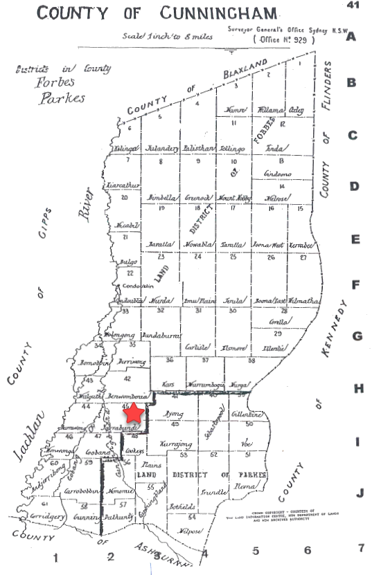 Map of the County of Cunningham with Yarrabandai highlighted. Source: County & Parish Maps of NSW with Index by Alice Jansen (1999) p.41